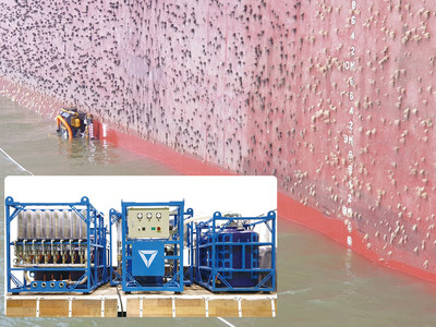 Hull Cleaning Robot cleaning ship's surface. On the left is the filtration system which cleans microorganisms and microparticles in 3 stages