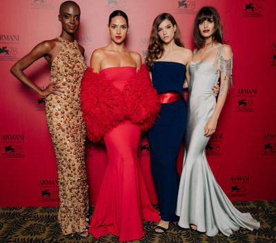 Madisin Rian, Adria Arjona, Barbara Palvin and Greta Ferro at the Armani beauty dinner
